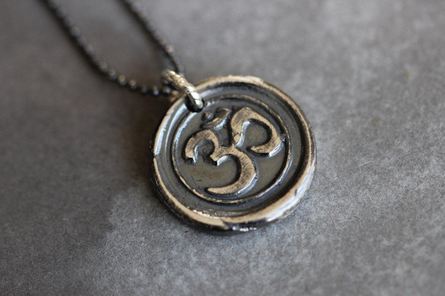 sterling silver om necklace wax seal charm jewelry