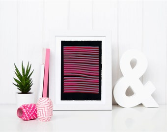 11x7.5 Screen Print Geometric Abstract Unique Black, Pink & Gray NY1134 3 of 4