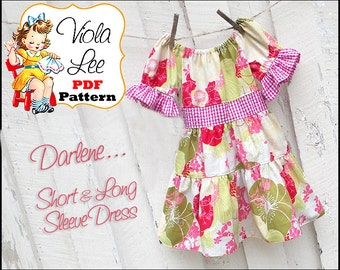 Darlene....Girl's Peasant Dress Pattern, Toddler Dress Sewing Pattern, Long Sleeve Dress pdf Sewing Pattern. Instant Download pdf Pattern