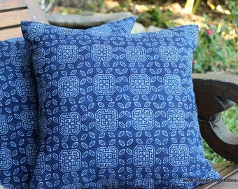 16 in Indigo Batik Hmong Pillow In Natural Cotton Double Sided Cushion Cover, ** Free Worldwide Shipping **
