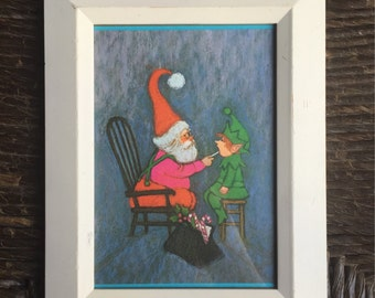 Vintage Santa and Elf Christmas Frame