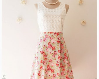 Vintage Style Lace Dress Mint Blue Pink Rose Floral Bridesmaid Dress Party Dress Homecoming Christmas Dress Modest Dress -Size XS-XL,Custom