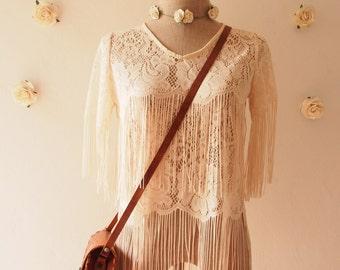 Minimalist Lace See Through Fringe Blouse - Cream - T-shirt like Bohemian Hippie Boho Artisan Style Piece Tribal Clothing