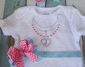 Personalized Baby Girl Necklace Onsie~ Birthday Onsie~ Shower Gift ~ Pink and Aqua~ Birthday Onsie~Initial ~ Hair Bow included
