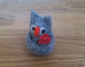Owl needle felted with red rose gift under 25