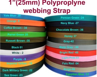 2 yards x 25-mm colour-polypropylene -1-inch-Webbing-boat-trailer camping strap