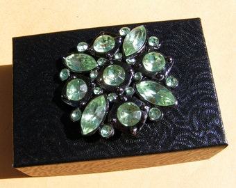 1980's Reproduction of a Victorian Green Rhinestone Brooch