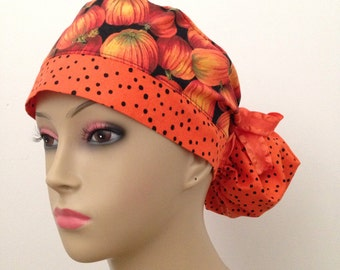 Women's Ponytail Surgical Scrub Cap - Pumpkin Patch