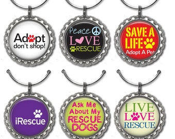 Rescue Adoption Shelter Dogs Wine Charms