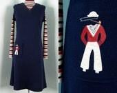 Vintage 1960s Knit 'POPEYE' Sailor Dress 60s Navy Dress by Francesca of Damon Italy Size 8/M