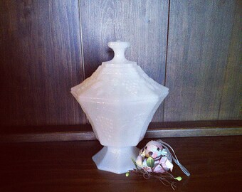 Milk Glass- Fruit & Leaves Motif - Bowl with lid