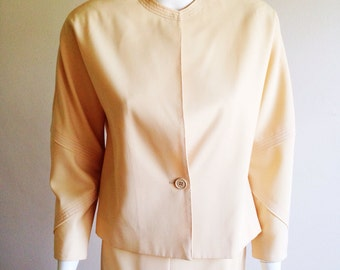 Vintage 1970s Gianfranco Ferre Neutral Lightweight Wool Suit