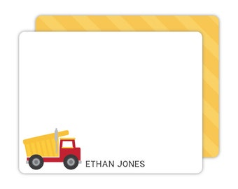 Dump Truck Note Cards - Personalized Flat Note Cards - Kids Stationery - Children Stationery - Dump Truck Stationery