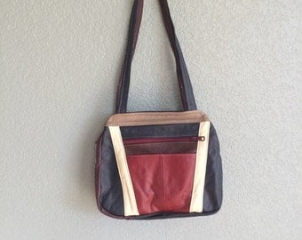 1980s multi colored leather purse shoulder bag