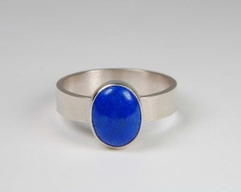 Lapis Ring Handmade Silver Ring Custom Ring Modern Ring Wide Band Ring Lapis Lazuli Ring Made to Order Ring