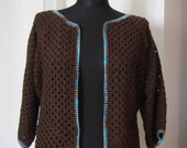 brown wool blend crochet bolero jacket cardigan - blue orange cream metallic trimmed