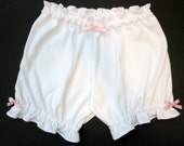 Womens Bloomers - Large - White Fabric, Pink Bows