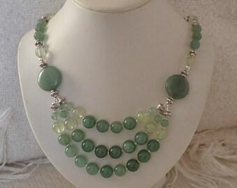 Three Strand Stone Necklace with Green Aventurine and Prehnite Collar Bib Statement Necklace