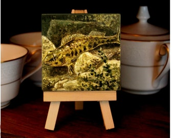 "Gift Wildlife Art Original Acrylic Painting 3""X3"" Channel Darter"