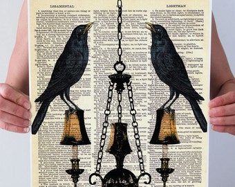 Black CROWS Ravens Birds Chandelier Dictionary Print Art Poster HaLLoWeeN Fall Illustration Antique Book Page Wall Decor A3 8x10 +More Sizes
