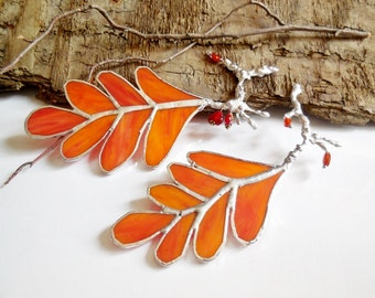 Orange Autumn Leaves. Woodland Stained Glass Suncatchers. Set Of Two Oak Leaves