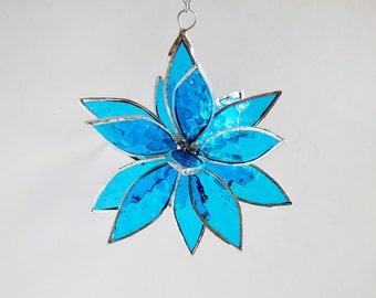 3D Stained Glass Blue Suncatcher. Flower. Flower of Life - Swirl.
