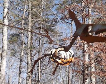 Outdoor Pterodactyl dinosaur metal skeleton sculpture