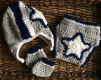 Dallas Cowboys Football Crochet Baby Helmet Hat Gift Set