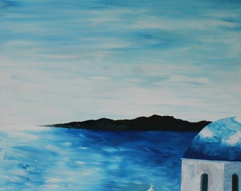 Santorini, Greece - Blue Dome - Limited Edition Fine Art Print