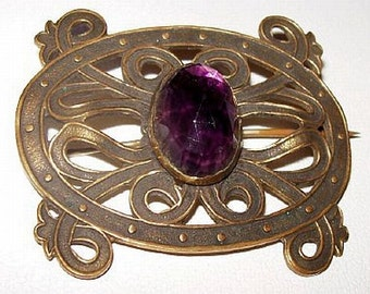 "Art Nouveau Brooch Purple Oval Rhinestone Center Brass Scrolling Vines C Clasp 1 3/4"" Vintage"