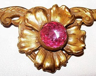 """Victorian Brooch Pin Pink Rhinestone Gold Brass Metal Old Style C Pin Fastener 2 1/4"""" Antique"""