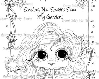 INSTANT DOWNLOAD Digital3  Digi Stamps Big Eye Big Head Dolls Flower Window Garden My Besties By Sherri Baldy