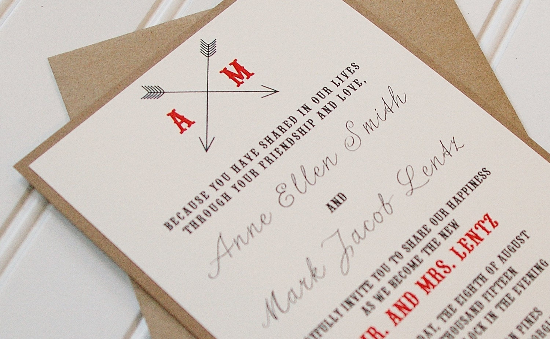 Rustic Wedding Reception Invitations: Arrow Wedding Invitations: Simple Rustic Wedding Invitations