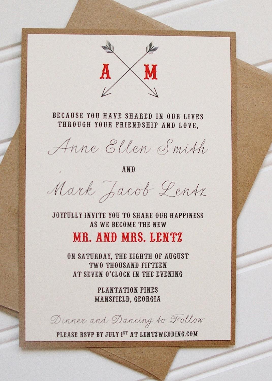 Arrow wedding invitations simple rustic wedding invitations for Rustic simplicity