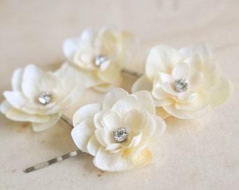 Ivory Cream Rhinestones Flower Hair Pins (4 pcs) Bridal Hair Flowers Wedding Hair Accessories Bridesmaids Headpiece Wedding Hair Clips Small