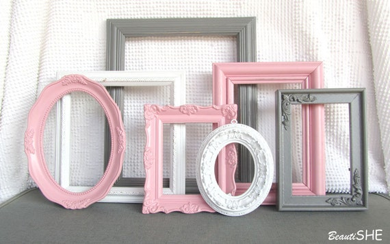 Items Similar To Pink Grey White Frame Set Custom Frames