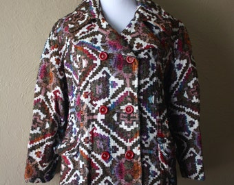 Vintage Ethnic Print Tapestry Coat