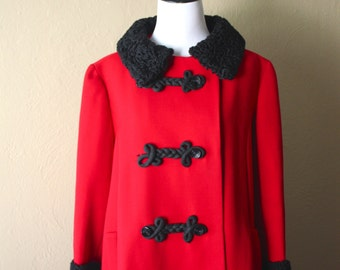 Vintage Cherry Red Wool Coat with Persian Black Lamb Trim