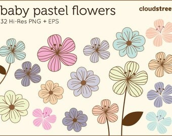 20% OFF Baby Pastel Flower clip art for personal and commercial use ( vector cute flowers clipart )