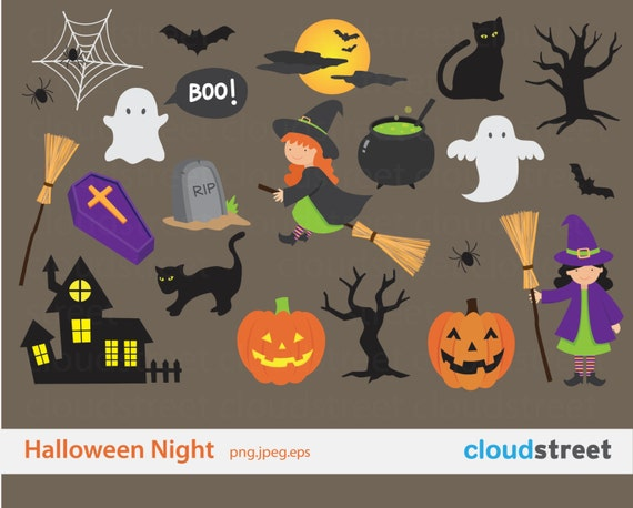 20% OFF Spooky Halloween Clipart for personal and commercial use - halloween clip art vector graphics