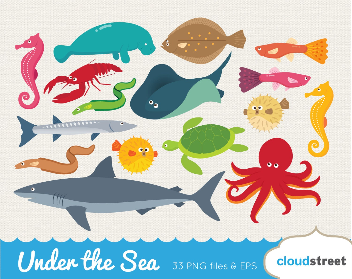 Clip Art Sea Creatures Clipart sea animal clipart etsy buy 2 get 1 free vector under the clip art creatures puffer fish shark octopus manatee turtle stingray commercial use ok