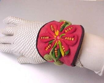 Lovely Ethnic Bohemian Look Needlework Wrist Cuff Bracelet