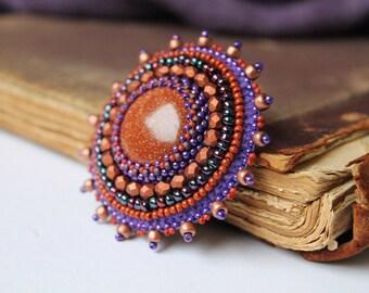 Brown Copper Brooch Embroidery Brooch Bead embroidered Brooch Goldstone Brooch Cabochon Brooch Brown Purple Brooch Brown Jewelry Tribal