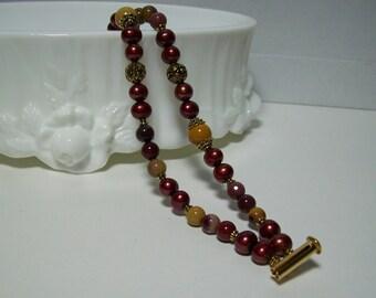 Burgundy Bracelet. Mookaite and Freshwater Pearls Multi-Strand Bracelet. Stone and Pearls Bracelet.