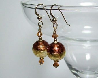 Venetian Glass Earrings. Gold Murano Glass Earrings. Real Venetian Glass. 14K Gold Filled Earrings.