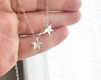 Star Necklace,  Delicate Initial Star Necklace, Hand Stamped Initial Necklace, Everyday Wear, Personalized Gift, Best Friends, Mothers Gift