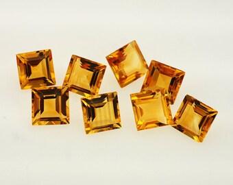 Natural Golden Citrine Gemstone Faceted Square 4 mm, 6 mm, 7 mm