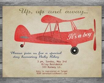 Airplane Baby Shower Invitation Card Vintage Birthday Red Or Aqua Printable Digital - Customized