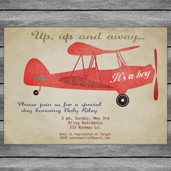 Vintage Airplane Birthday Party Airplane Baby Shower: Airplane Baby Shower Invitation Card Vintage Birthday Red Or