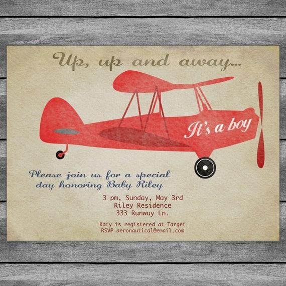 airplane baby shower invitation card vintage birthday red or, Baby shower invitations